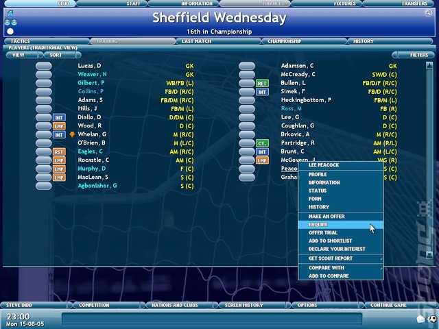 Championship Manager 2006 - PC Screen